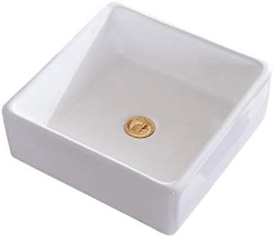 BoPin (タップなし)バスルームの洗面台、正方形セラミックカウンタ流域家庭シンク化粧技術の単一流域、38X38X13cm ベッセルシンクシンク (Size : 38X38X13cm)