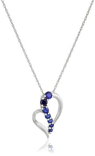 Sterling Silver Created Blue Sapphire and Diamond Accent Heart Journey Pendant Necklace, (Sapphire Journey Necklace)