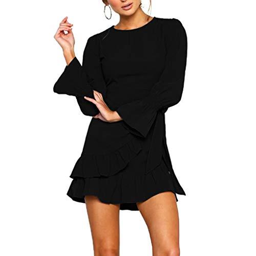 - irene inevent Women's Ruffled Irregular Trumpet Sleeve Dress Wrap Lace-up Belted Round Neck Mini Dress Ruffle Hem Bobycon