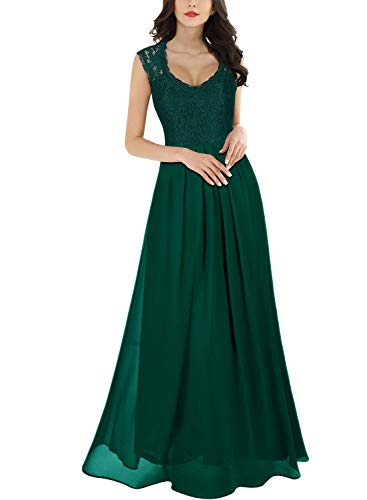 Miusol Women's Casual Deep- V Neck Sleeveless Vintage Maxi Dress (3X-Large, Green)