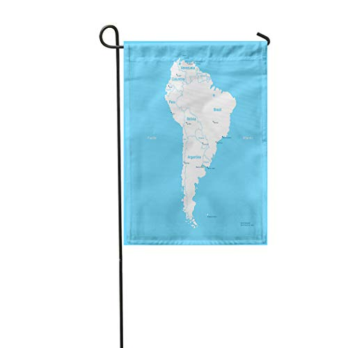 Vooft Double Sided Garden Flag Isometric South America Map Draw Interesting and Warm Pop Art 28