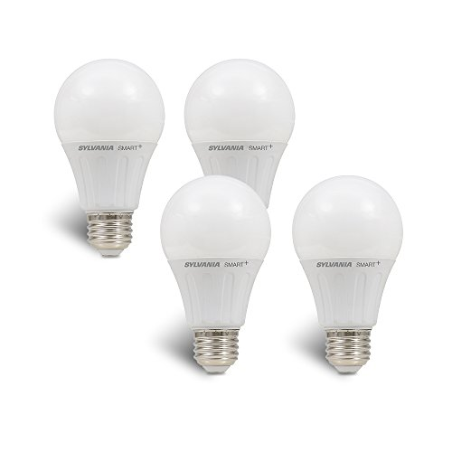 Sylvania Smart Home 74768 (Formerly LIGHTIFY) On/Off/Dim LED Light Bulb, 60W Equivalent A19, 10 Year, Works with Amazon Alexa, SmartThings and Wink (4 Pack), 4, Dimamble Soft White, 4 Piece