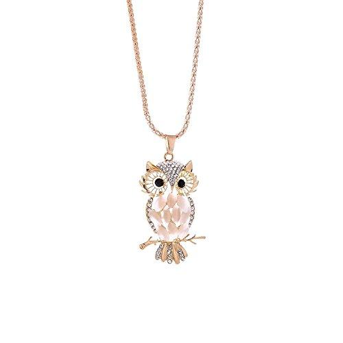 Owl Hemp - Simayixx Clearance Fashion Women Colorful Owl Crystal Rhinestone Cute Pendant Sweater Necklace (White)