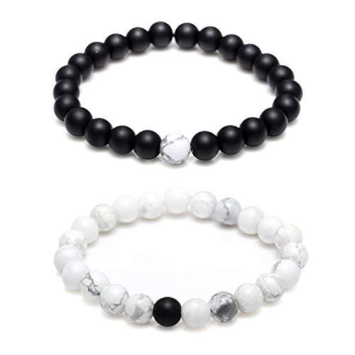 Monily Couples His & Hers Bracelet Black Matte Agate & White Howlite 8mm Beads 7.1