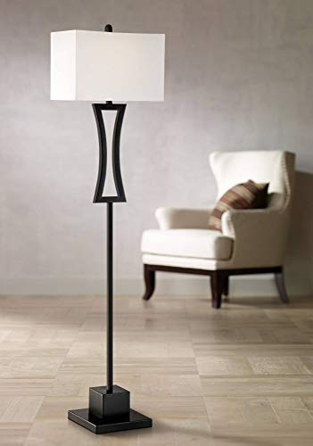Possini Concord Satin Black Metal Floor Lamp - Possini Euro Design