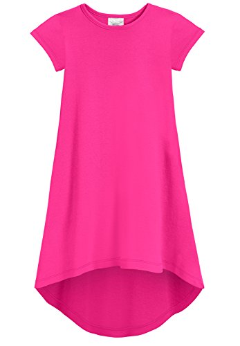 Girls Pink Jersey Dress - City Threads Girls Jersey Short Sleeve Hi Lo Maxi Dress Top Blouse Shirt Stylish Modern All Cotton for Sensitive Skins, Hot Pink, 12