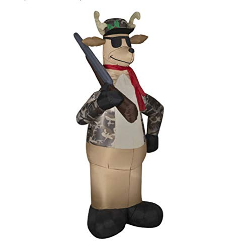 Christmas Inflatable 6' Camo Reindeer Hunter Holding Rifle by Gemmy (Outdoor Hunting Decor)