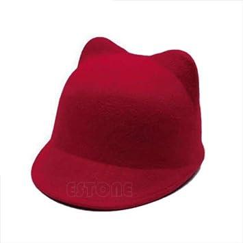 521f85b8 Amazon.com: NPLE--New Winter Fashion Women Devil Hat Cute Kitty Cat Ears  Wool Derby Bowler Cap Hot (Red): Home Improvement