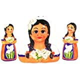 MEXICAN INDIAN LADY 3-D Table Set w/S & P *NEW*