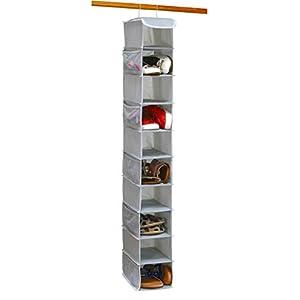 10 Shelves Hanging Shoes Organizer Holder for Closet w/ 10 Pockets, Grey