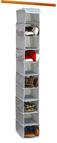 10 Shelves Hanging Shoes Organizer Holder for Closet w/ 10 Pockets, Grey