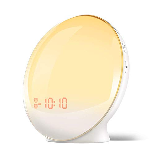 Sunrise Alarm Clock for Kids, TITIROBA, Wake Up Light for bedrooms, Dual Alarm with FM Radio, Digital LED Clock with Snooze Function, Night Light with Sunset Simulation, USB Charge Port-AM/PM
