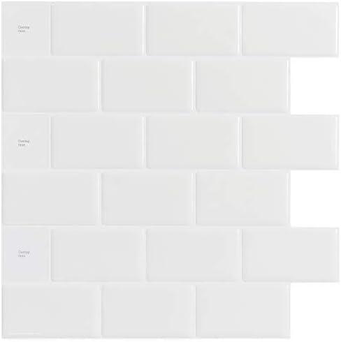 現代の壁紙テレビの背景リビングルームWallpa 10-シートピールとスティックタイルbacksplashの - 12「X12」プレミアムキッチンbacksplashの皮をむくとスティックタイルホワイト (Color : White, Size : 12