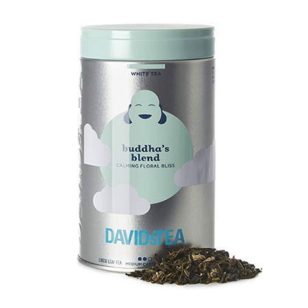 DAVIDsTEA Buddha's Blend Loose Leaf White Tea Iconic Tin, with Jasmine Pearls and Hibiscus Blossoms, 66 Grams / 2.3 Ounces