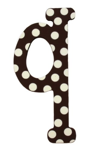 My Baby Sam Polka Dot Letter q, Brown/White - Polka Dot Wall Letters