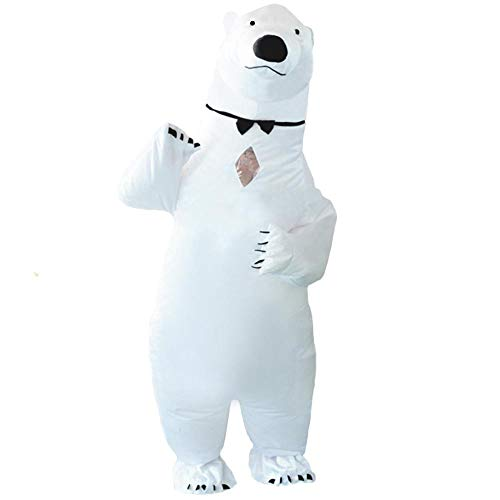 HUAYUARTS Polar Bear Inflatable Costume Suit White Adult Blow up Cosplay Halloween, Free Size]()