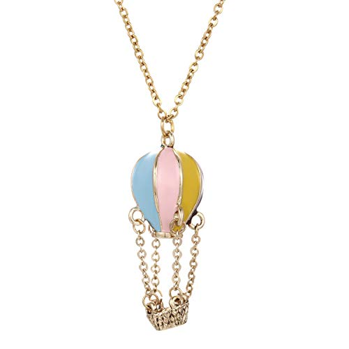 Winssi Lovely Rainbow Enamel Hot Air Balloon Pendant Necklace for Women and Girls Jewelry Gift (Hot air Balloon)