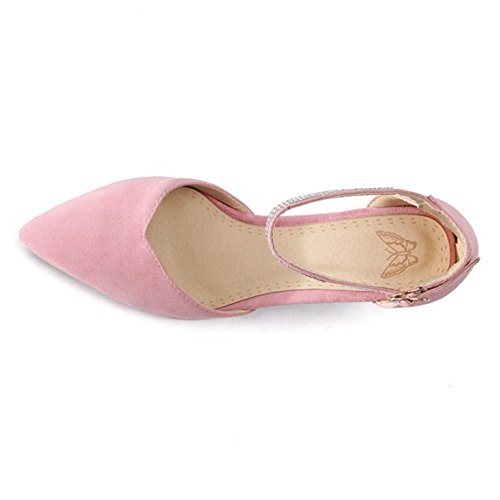 Correa RAZAMAZA Bombas Tobillo de Mujer Pink Zapatos 0Cw5CqFS