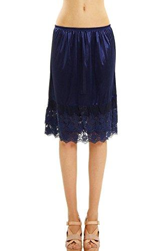 Melody Womens Lace Extender Slip Skirt Half Slip (Small, Navy (Navy Blue Slip)