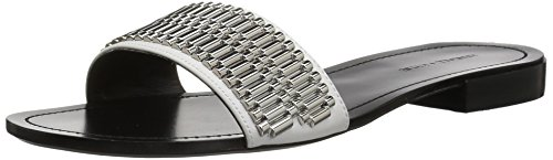 KENDALL + KYLIE Women's Kennedy Flat Sandal, White, 8 M US by KENDALL + KYLIE