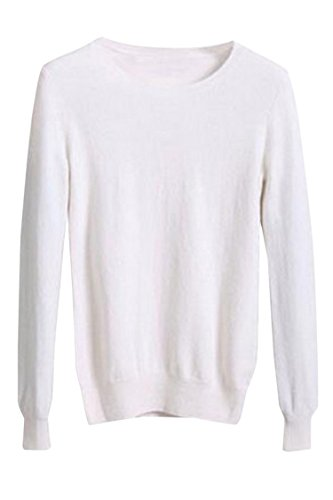 Viottis Women's Crewneck Cashmere Wool Long Sleeve Pullover Sweater White