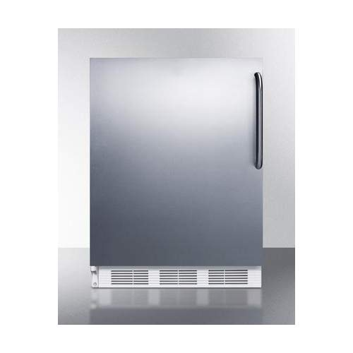 """Summit ALB651SSTBLHD 24"""" ADA Compliant Left Hinge Dual Evaporator Undercounter Refrigerator with 5.1 cu. ft. Capacity Cycle Defrost Adjustable Thermostat and Professional Towel Bar Handle: Stainless"""