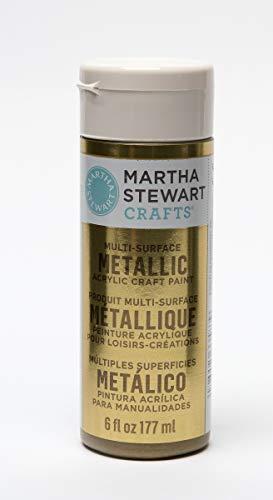 Martha Stewart Crafts 33583 Martha Stewart Multi-Surface Metallic Craft Gold, 6 oz Paint,