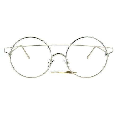Womens Art Deco Off Set Brow Bridge Round Circle Lens Eye Glasses - Sunglasses Offset