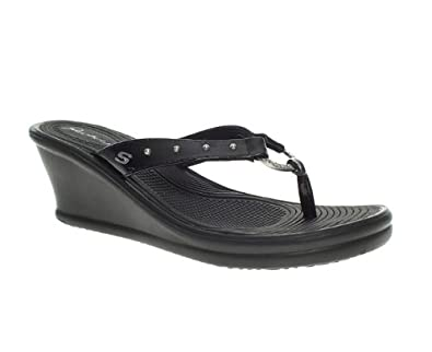 018405a23e80 Skechers Womens Ladies Black Mid Heel Rumblers Toe Post Wedge Sandals Size 4   Amazon.co.uk  Shoes   Bags