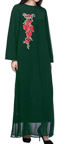 Araba Stile Lunga Vestito Maxi Cromoncent Manica Embroideried Musulmano Donne Verde Islamico Etnico ZTRfzW1q