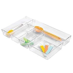 InterDesign Plastic In Drawer Organizer Trays for Kitchen Utensils, Silverware, BPA-Free, Set of 6, Clear