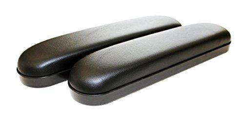 Universal Black Desk Length Vinyl Padded Armrest - Pair