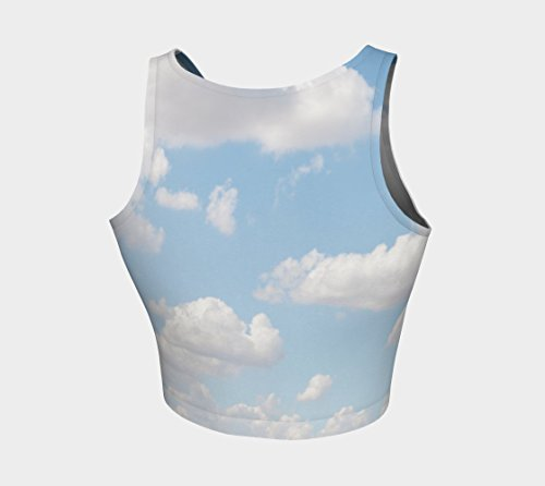 Designer Excercise Top | Custom Printed Athletic Crop Top | Womens Workout Wear | Spandex Crop Top | Cloud Print | Baby Blue & White | Teen Fashion