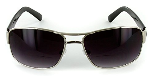 The Top Gun Unisex Aviator Tinted Bifocal Sunglasses for Men and Women +1.25 Silver (Carrying Case - Online Bargain Sunglasses