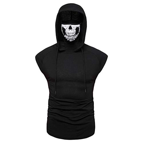 Sleeveless Zip Polo - Men's Mask Skull Pure Color Pullover Sleeveless Hooded Sweatshirt Tops Blouse Black