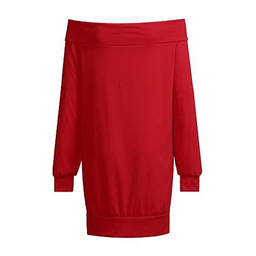Maglia A Elegante Senza Topgrowth Maniche Donna Spalline Maglietta Lunghe Blusa Autunno Spalla Top Camicetta Casual Irregolare Rosso wxvxtF