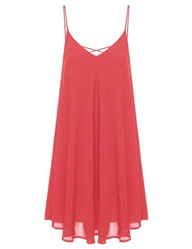 ROMWE Women's Summer Spaghetti Strap Sundress Sleeveless Beach Slip Dress Red M