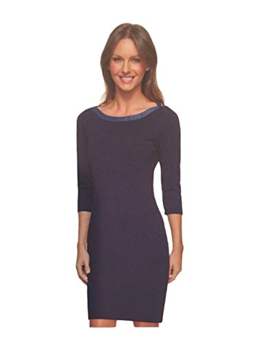 Tommy Sleeve Hilfiger 3/4 - Tommy Hilfiger Ladies Nautical Scoop Neck 3/4 Sleeve Jersey Dress (Navy Blue, X-Small)