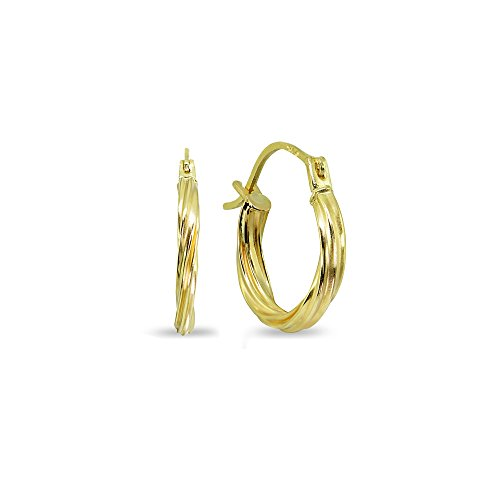 14K Gold 2x15mm High Polished Twist Lightweight Click-Top Hoop Earrings by Hoops 4 Less