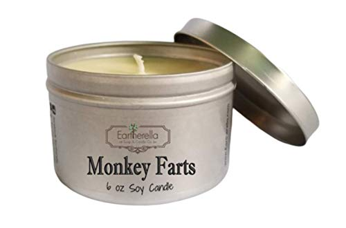 (MONKEY FARTS Natural Soy Wax 6 oz. Tin Candle, long 40+ hour burn time)