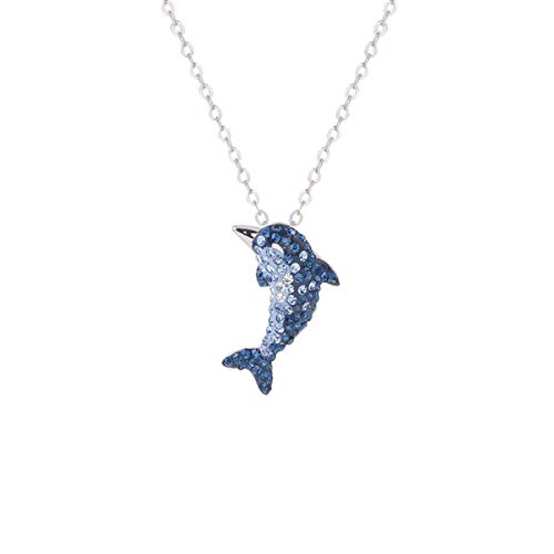 - S925 Silver Blue White Gradient Crystal Dolphin Charm Pendant Necklace Gorgeous Jewelry Gifts for Women Girl, 18