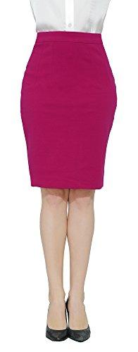 Marycrafts Women's Work Office Business Pencil Skirt M Magenta