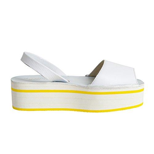 Minorquines-Sandalias Avarca Creepers tenis para mujer, diseño de rayas, color amarillo Blanco - blanco