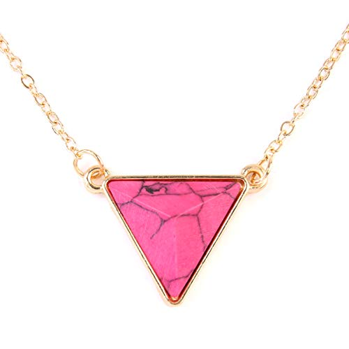 Riah Fashion Lightweight Acrylic Gem Stone Pendant Necklace - Geometric Triangle, Square Charm Chain Necklace (Triangle - Hot ()