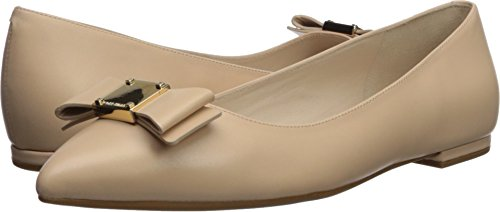 Cole Haan Women's TALI Bow Skimmer Ballet Flat, Nude Leather, 8 B US