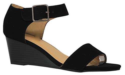 - MVE Shoes Womens Open Toe Low Wedge Thick Ankle Strap, Rock Black nbpu Size 7