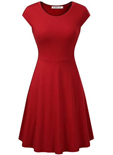 HIKA Women's Casual Elegant A Line Short Cap Sleeve Round Neck Dress (Small, Red)