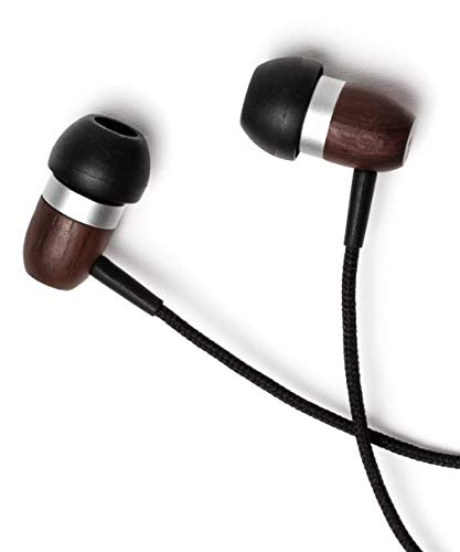 Symphonized GLXY Premium Genuine Wood in-Ear Noise-isolating Headphones with Mic and Nylon Cable (Ebony)