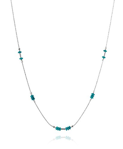 Graceful 925 Sterling Silver Reconstituted Turquoise Bead Necklace, 18
