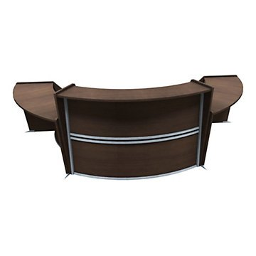 Marque Curved Triple Reception Set with Two ADA Stations (Walnut Finish/Silver Accents & Base)